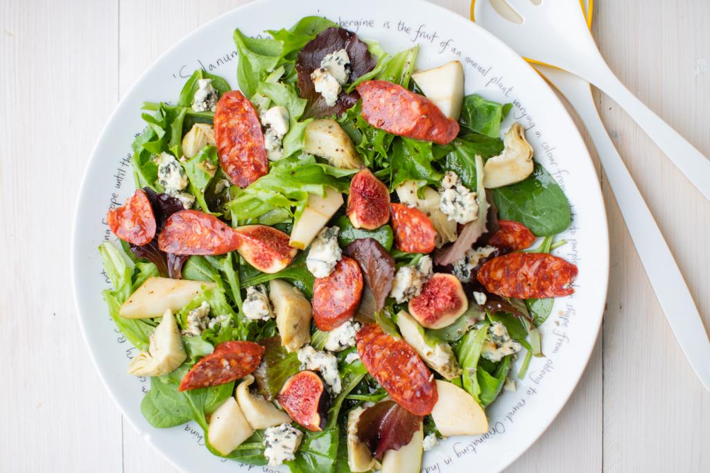 chorizo Fig, Blue Cheese, Artichoke Salad