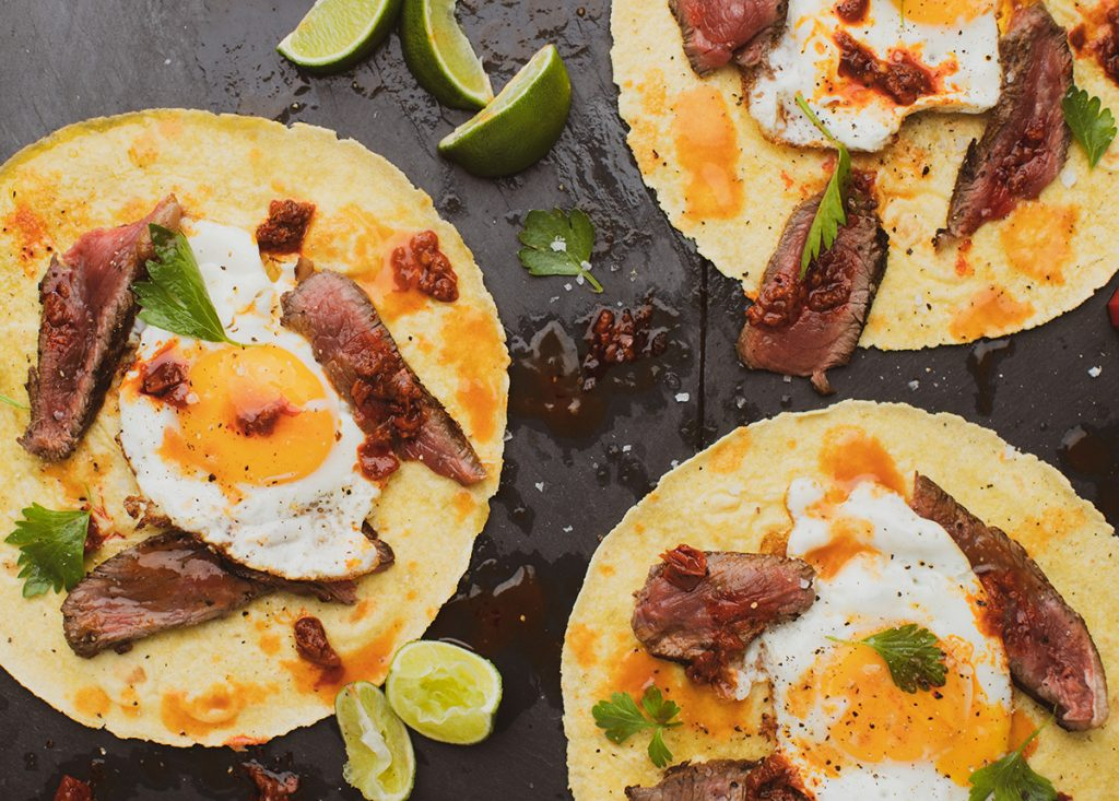 Steak and egg tacos recipe