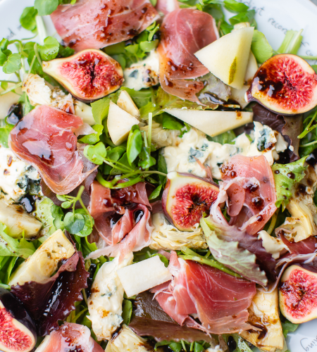 Prosciutto, Fig, Blue Cheese, Artichoke Salad
