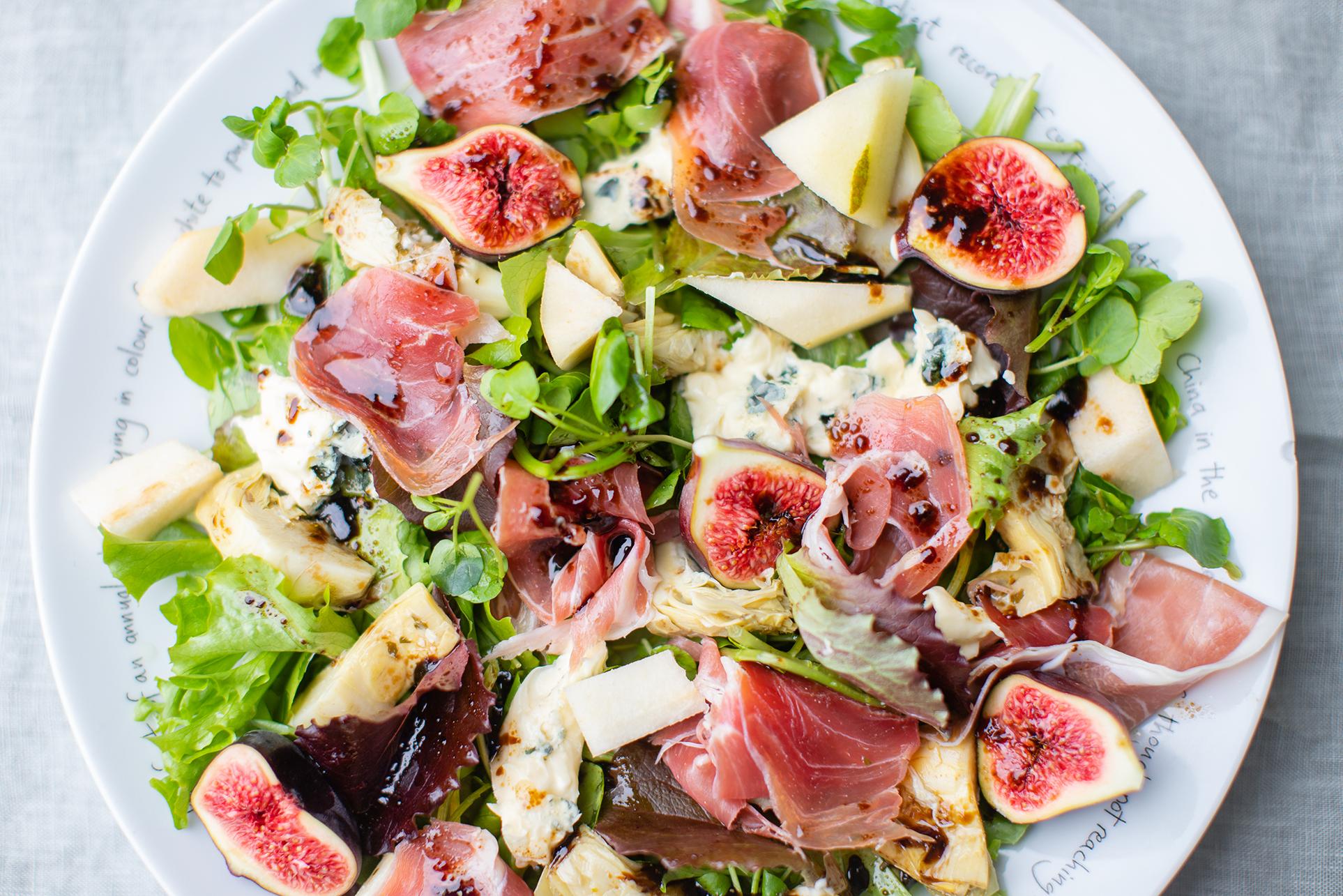 Prosciutto, Fig, Blue Cheese, Artichoke Salad