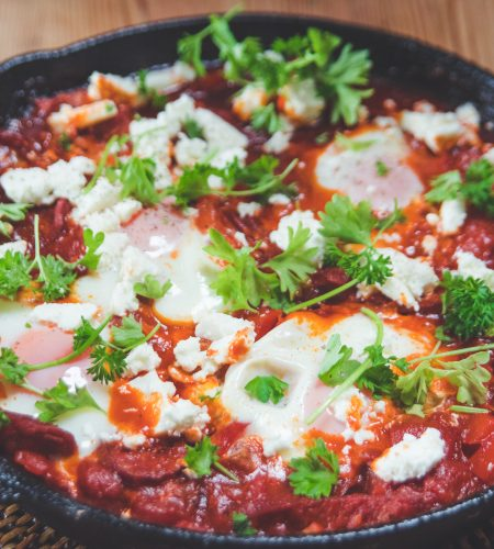 Spicy chorizo, tomato and egg one pan brunch