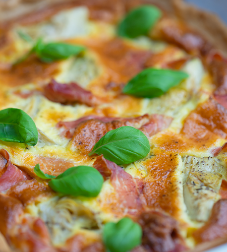Bacon and artichoke quiche