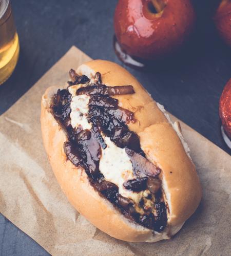 Bonfire night: Sticky cider onion hot dog