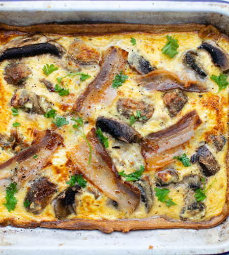 Bacon & mushroom tart