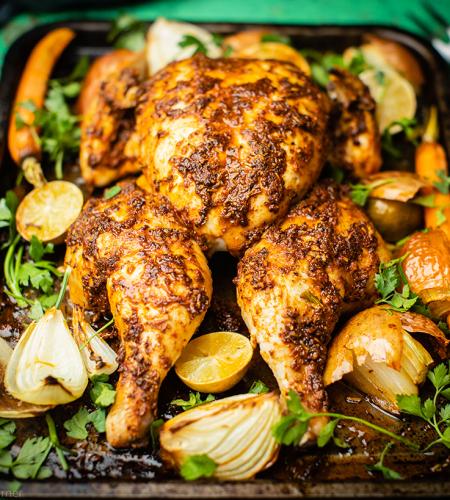 Warm spicy spatchcock chicken