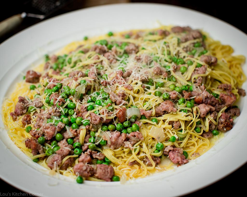 Italian sausage & peas with taglierini