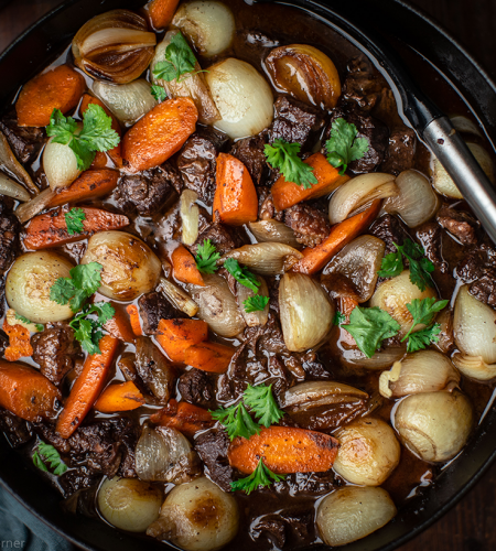 Slow-cooked braised brisket in red wine