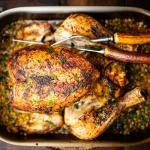 spicy roast chicken with Greek stuffing & freekeh recipe