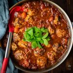 spicy pork meatballs in a rich tomato sauce recipe