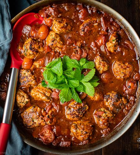 Spicy pork meatballs in rich a tomato sauce