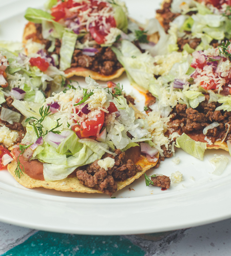 Homemade Mexican tostadas