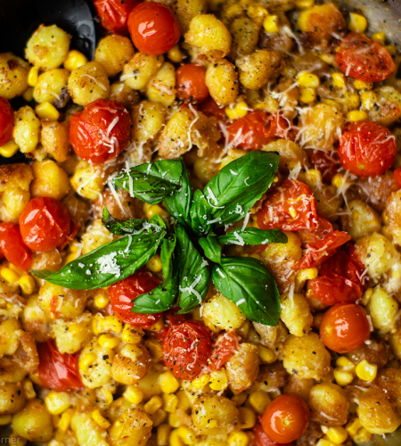 Corn and tomato gnocchi